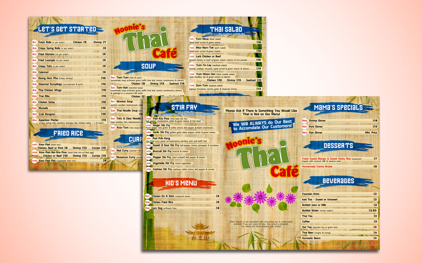 Noonie's Thai Cafe Menu